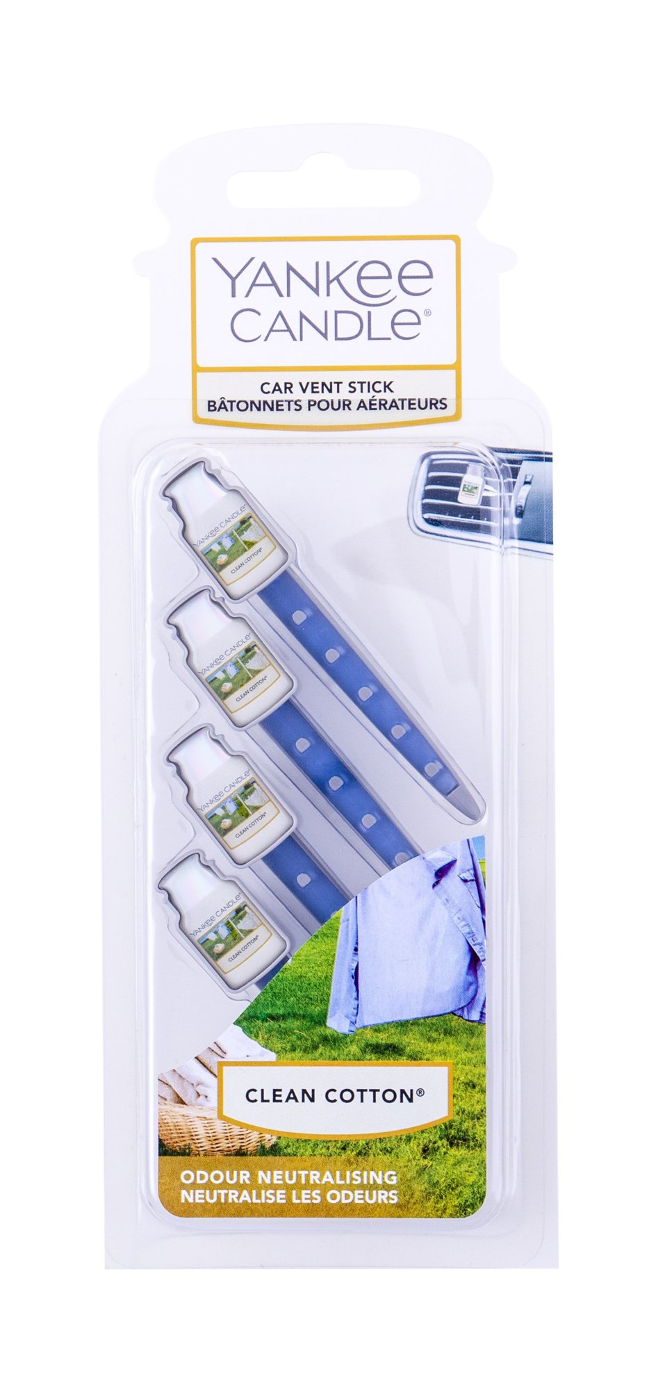 Yankee Candle Clean Cotton Vent Stick (Vůně do auta, U, 4 ks)