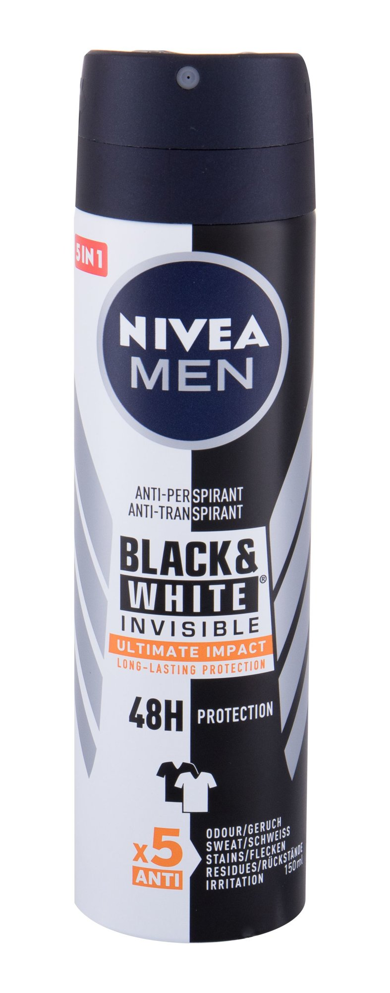 Nivea Men Invisible For Black & White 48h Antiperspirant, M, 150 ml