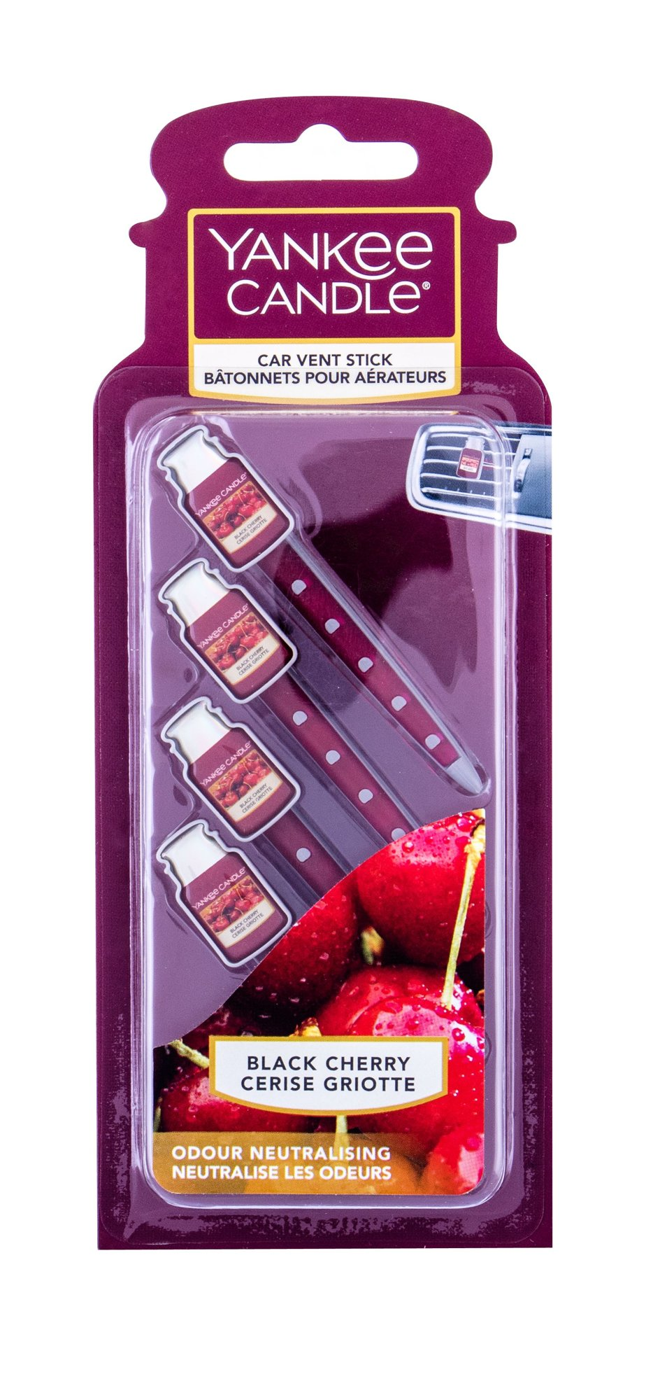 Yankee Candle Black Cherry Vent Stick (Vůně do auta, U, 4 ks)
