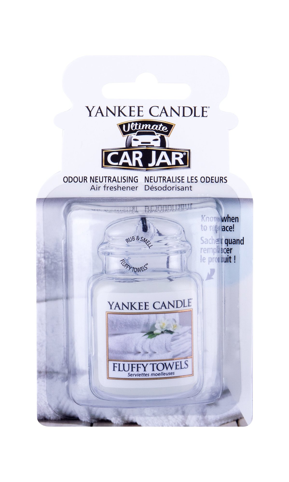 Yankee Candle Fluffy Towels Car Jar (Vůně do auta, U, 1 ks)