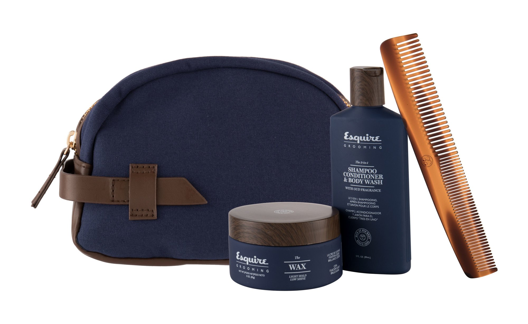 Farouk Systems Esquire Grooming The 3-In-1 (Šampo6n, M, 89 ml, sprchový gel 3in1 89 ml + vosk na vlasy The Wax 85 g + hřeben Classic Travel Dual Comb 1 ks + kosmetická taška)
